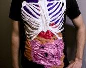 human anatomy science patchwork t-shirt