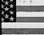 Flag -- Black and White Photograph of a Painted US Flag