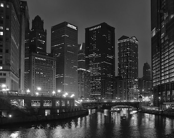 Chicago River at Night 10 x 10 inch Black and White Photograph