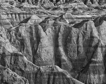 South Dakota Badlands -- black and white landscape photograph