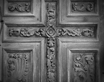Hand-Carved Door of Spanish Mission -- San Antonio Texas Square -- black and white photograph