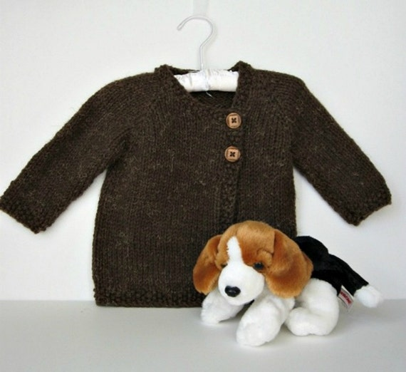 Brown Hand Knit Baby Boy Sweater