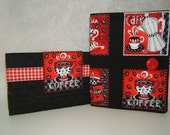 ON SALE Purse Organizer Coupon Receipt Holder Black and Red Coffee Fabric with Free Matching Wallet