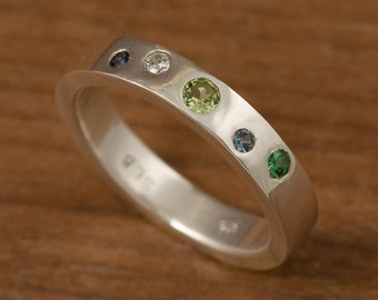 Birthstones of the World Ring :  multi gemstone ring in silver, your choice of stones, sterling, band, create a ring