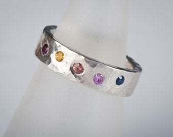 Sapphire Rainbow ring in sterling silver, multi colored gemstones, birthstones, hammered, wedding band