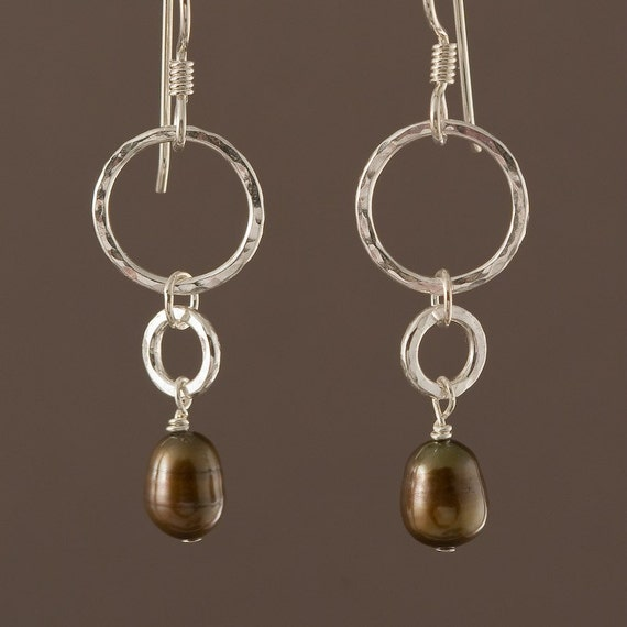 Chocolate Pearl Drops, sterling silver, brown pearl, dangle