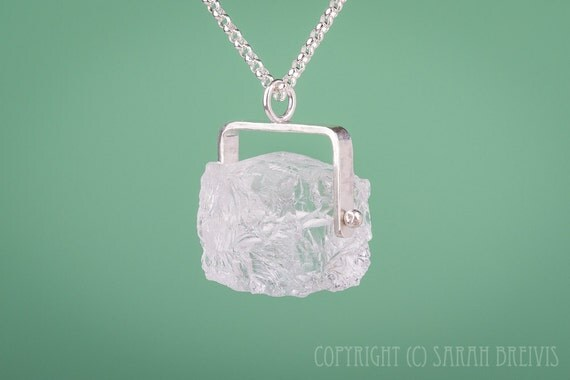Ice Cube Quartz Crystal Pendant Necklace in Sterling Silver