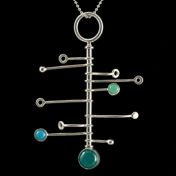 Picasso Action pendant, mobile, kenetic, silver, chrysoprase, turquoise, green onyx, spinner