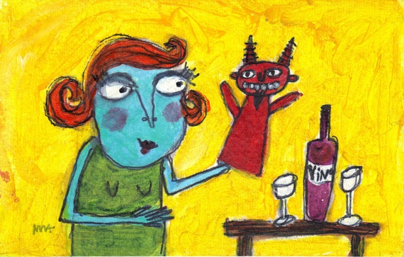 I Love Bad Boys - funny,  narrative, outsider original painting by Murphy Adams