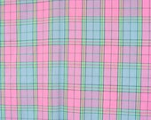 Plaid shirting fabric, in pink, periwinkle, lavender, and cyan plaid fabric, 1970's look, extra wide, 1 9/10 yards