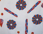 1960's happy summer beach umbrella and abstract shapes cotton fabric, in royal blue, red, yellow, and off white, 1 1/6 yds