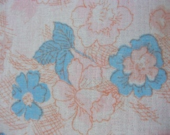 1970's semi-sheer jersey knit fabric in sweet pastel pink, blue, and white floral print, extra wide, 5/6 yard +