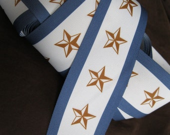 Blue, white, and golden brown star and stripe extra wide grosgrain ribbon, 2 3/8 inch wide