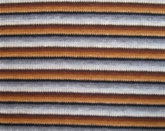 Vintage style striped ribbed knit fabric - very stretchy, in shades of brown, gray, cream, and black, extra wide, almost 2 yards