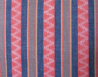 Vintage look twill, in coral, dark indigo blue, brown, tan, and cream striped and zigzag, 2 1/6 yards available