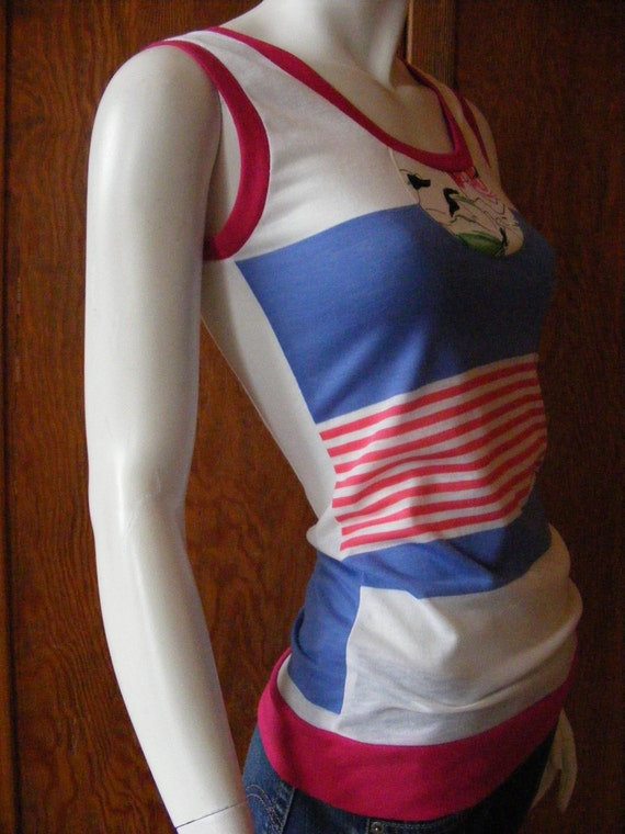 the Crazy Mixed-up Tunic Tank, in vintage striped and print jersey - 4 choices in SM