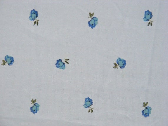 1960's flowy jersey in soft blue with a sweet rosebud print, 3 yards available