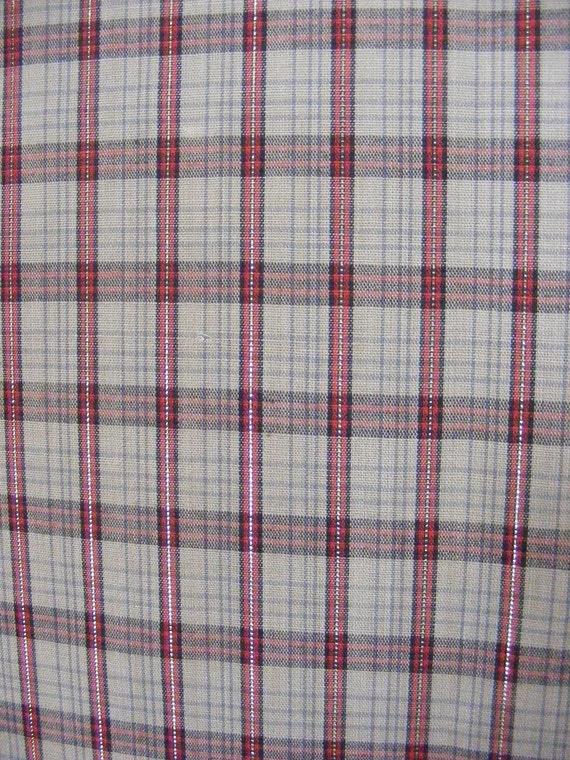 1970's plaid shirtings - your choice from two - tan, maroon and black with gold threads -or- browns with green, with tiny multicolor stripes