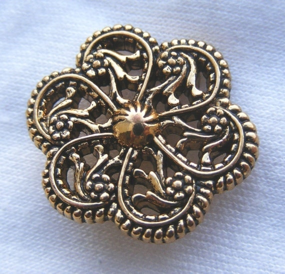antiqued goldtone filigree flower button, 1 inch