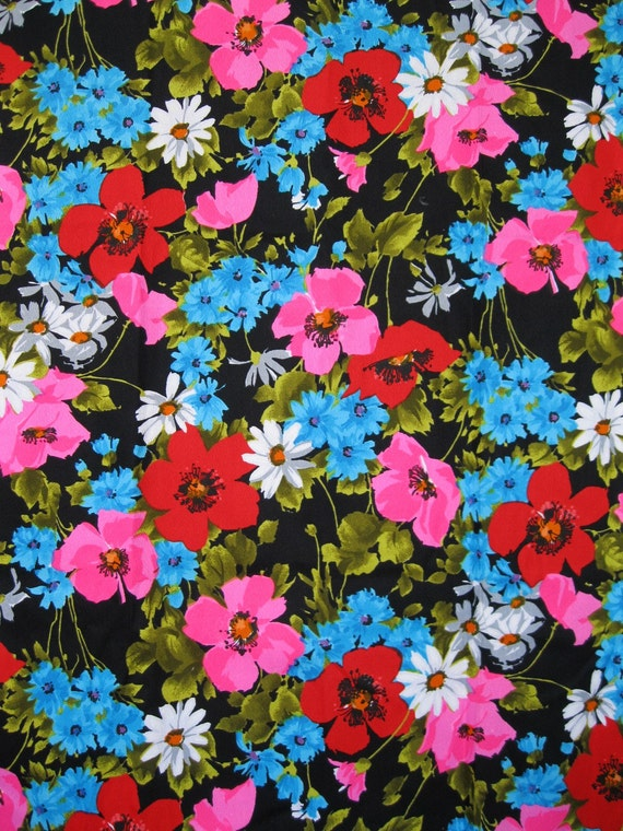 FOR MFB - 2 YDS -Black and bright multi floral Alexander Henry print