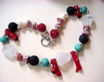 Southwestern Necklace Quartz Coral Sterling Silver Shell Necklace