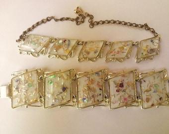 Vintage 50s Confetti Lucite Necklace & Bracelet