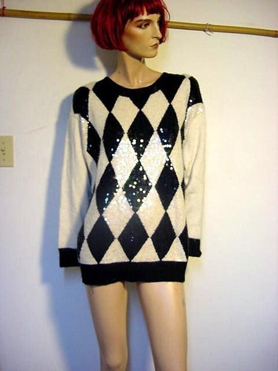 Vintage 80s Black White Harlequin Sequin Sweater size 10 - 12