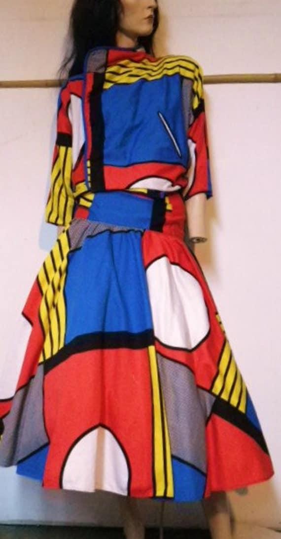 vintage 80s roy lichtenstein pop art comic book jacket dress