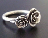 Double-Rose Ring - Handsculpted, Cast Sterling Silver - MADE-TO-ORDER in 4 to 5 Weeks
