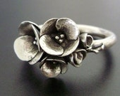 A Tiny Bouquet of Poppies - Handsculpted, Cast Sterling Silver Ring - READY TO SHIP (Sizes 6 to 7.5)