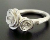Two Romantic White Roses - Handsculpted, Cast Ring in Sterling Silver - MADE TO ORDER in 4 to 5 Weeks