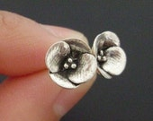 Tiny Poppies - Handsculpted, Cast Sterling Silver Earstuds - MADE-TO-ORDER in 3 Weeks
