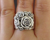 Ready to Ship (Sizes 7.5 to 8) - A Bouquet of Roses - Handsculpted, Cast Sterling Silver Wide-Band Ring