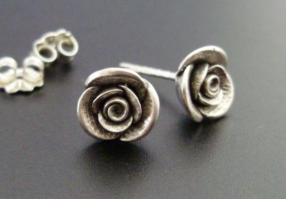 Roses for your Ears - Handsculpted, Cast in Sterling Silver - READY TO SHIP