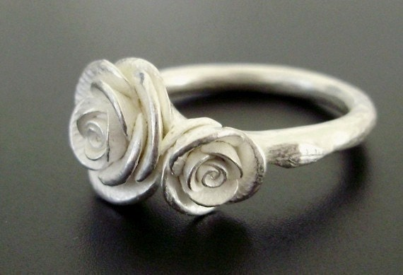 Two Romantic White Roses - Handsculpted, Cast Ring in Sterling Silver - MADE TO ORDER in 2 Weeks
