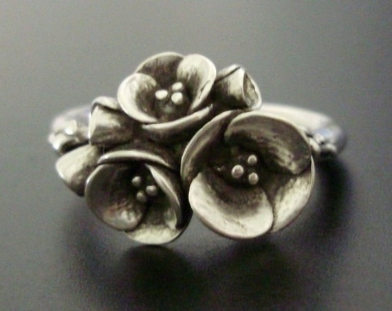 A Bouquet of Poppies - Handsculpted, Cast Sterling Silver Ring - READY TO SHIP (Sizes 6 to 7)
