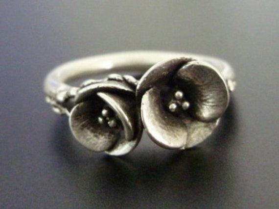 Two Poppies in Sterling Silver - Handsculpted, Cast Sterling Silver Ring - READY TO SHIP (Sizes 8.25 to 9)