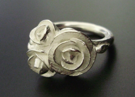Romantic White Peonies Ring - Sale - SMALL SIZE (Sizes 5 to 6) - SALE - Handsculpted, Cast in Sterling Silver - Ready to Ship