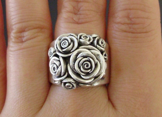 Made to Order - A Bouquet of Roses - Handsculpted, Cast Sterling Silver Wide-Band Ring - MADE TO ORDER in 4 Weeks