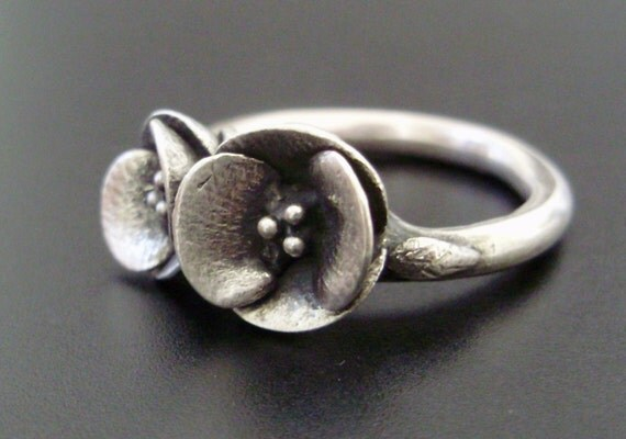 Two Poppies in Sterling Silver - READY TO SHIP (Sizes 6.5 to 7.5) - Handsculpted, Cast Sterling Silver Ring