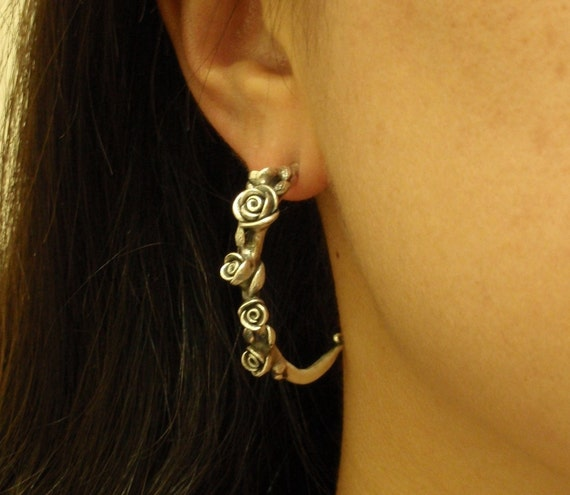 Branches of Roses, Half-Hoop, One-of-a-Kind Sterling Silver Earrings - SALE - Ready to Ship