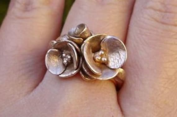 Poppies in Solid Rose Gold - SAMPLE SALE - Ready to Ship (Sizes 6.75 to 7.5) - Handsculpted, Cast in Solid 14K Rose Gold