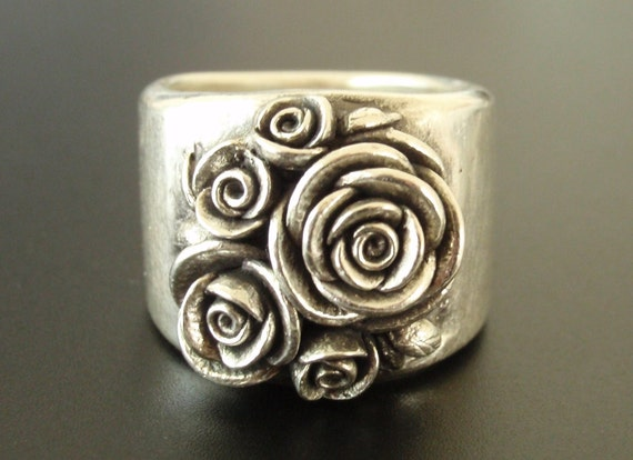 Ready to Ship (Sizes 7.75 to 8.5) - SALE - A Bouquet of Roses - Handsculpted, Cast Sterling Silver Wide-Band Ring with 5 Roses