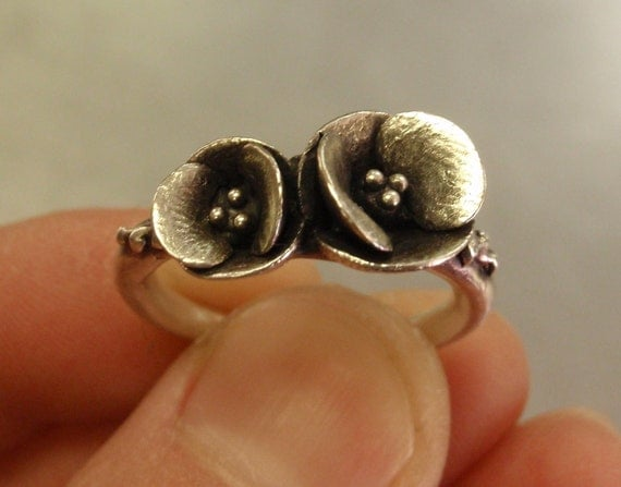 Two Poppies in Sterling Silver - READY TO SHIP (Sizes 7 to 8) - Handsculpted, Cast Sterling Silver Ring