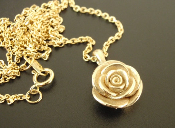 READY to SHIP - A Solid-Gold Rose Necklace - Handsculpted, Cast Rose Pendant in 14K Yellow Gold, with 16-inch Solid Gold Chain