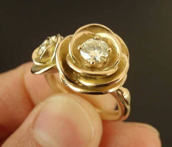 RESERVED for I - Custom 14K Yellow Gold Double-Rose Ring with Flush-Set Moissanite - Payment Listing