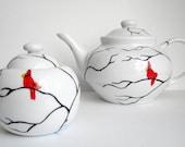 Cardinal Tea Pot and Matching Sugar Dish--2 piece collection