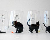 Cat and Yarn Stemless Wine Glass - SINGLE GLASS