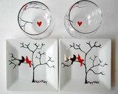 Personalized Love Birds Date Night Collection - Valentine Plates and Wine Glasses Gift Set