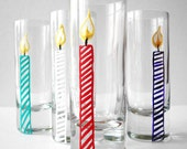 Happy Birthday Candle Shot Glasses--Set of 4